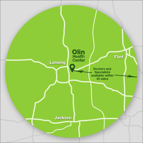 A map of the Lansing area that shows where the Olin Health Center is located and the 45-mile radius where patients can get coverage.
