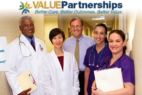 Value Partnerships Update Banner with 5 physicians face outward with the Blue Cross Blue Shield Card slightly over the image