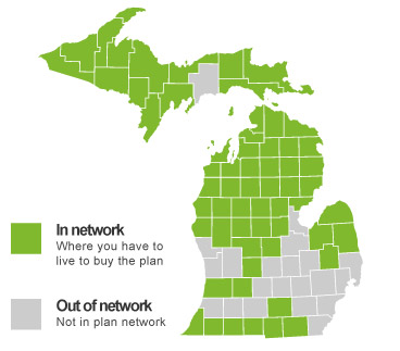 Blue Cross Preferred Gold and Silver Saver network service map