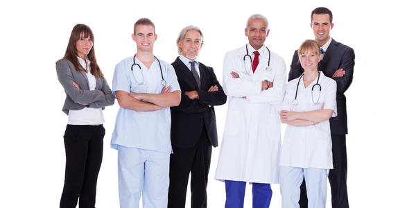 Group of doctors and business people
